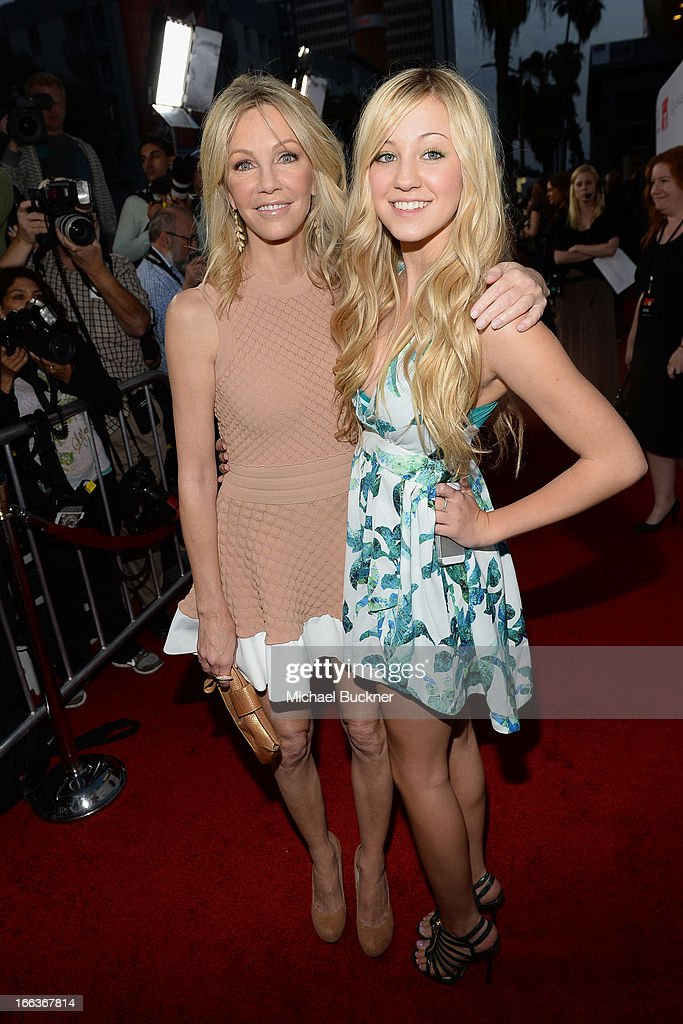 Actress <a gi-track='captionPersonalityLinkClicked' href=/galleries/search?phrase=Heather+Locklear&family=editorial&specificpeople=204224 ng-click='$event.stopPropagation()'>Heather Locklear</a> and daugher Ava Zambora arrive for the premiere of Dimension Films' 'Scary Movie 5' at ArcLight Cinemas Cinerama Dome on April 11, 2013 in Hollywood, California.