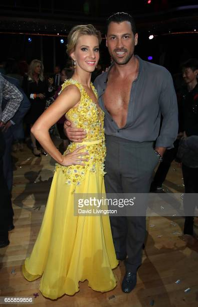 Actress Heather Morris and dancer Maksim Chmerkovskiy attend 'Dancing with the Stars' Season 24 premiere at CBS Televison City on March 20 2017 in...