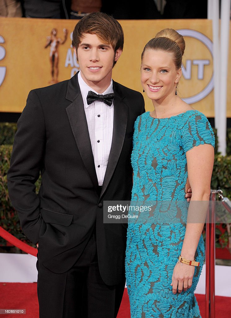 Actress Heather Morris (R) and guest arrive at the 19th Annual Screen Actors Guild Awards at The Shrine Auditorium on January 27, 2013 in Los Angeles, California.