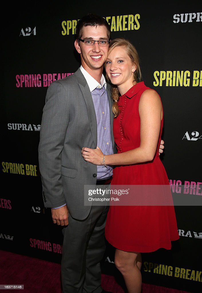 Actress Heather Morris (R) and Taylor Hubbell attend the 'Spring Breakers' premiere at ArcLight Cinemas on March 14, 2013 in Hollywood, California.