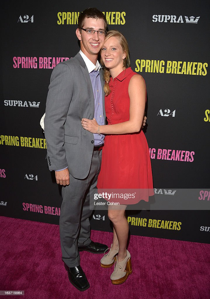 Actress Heather Morris (R) and Taylor Hubbell attend the 'Spring Breakers' Los Angeles Premiere at ArcLight Hollywood on March 14, 2013 in Hollywood, California.