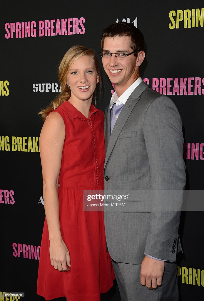 Actress Heather Morris and Taylor Hubbell attend the 'Spring Breakers' premiere at ArcLight Cinemas on March 14, 2013 in Hollywood, California.
