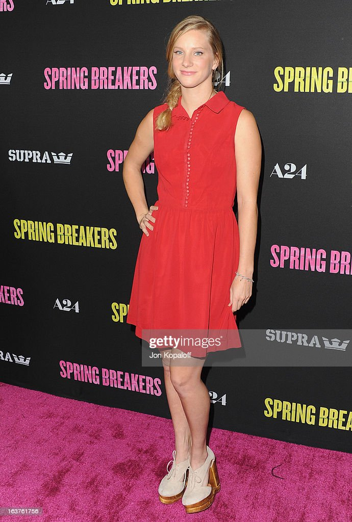 Actress <a gi-track='captionPersonalityLinkClicked' href=/galleries/search?phrase=Heather+Morris&family=editorial&specificpeople=5850948 ng-click='$event.stopPropagation()'>Heather Morris</a> arrives at the Los Angeles Premiere 'Spring Breakers' at ArcLight Hollywood on March 14, 2013 in Hollywood, California.