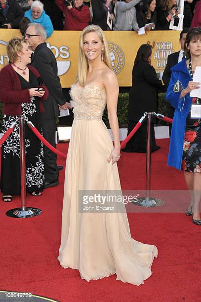 Actress Heather Morris arrives at the TNT/TBS broadcast of the 17th Annual Screen Actors Guild Awards held at The Shrine Auditorium on January 30...