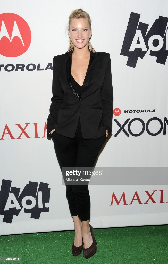 Actress Heather Morris poses with AOL at the Maxim Party Powered by Motorola Xoom at Centennial Hall at Fair Park on February 5, 2011 in Dallas, Texas.