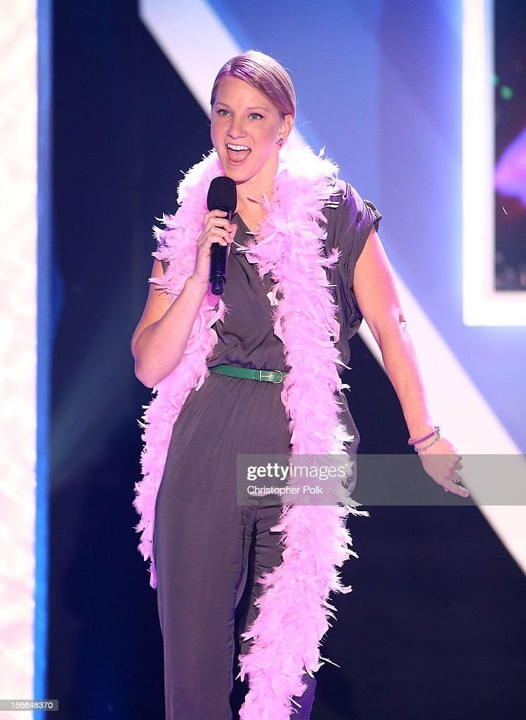 Actress Heather Morris speaks onstage at Nickelodeon's 2012 TeenNick HALO Awards at Hollywood Palladium on November 17, 2012 in Hollywood, California. The show premieres on Monday, November 19th, 8:00p.m. (ET) on Nick at Nite.
