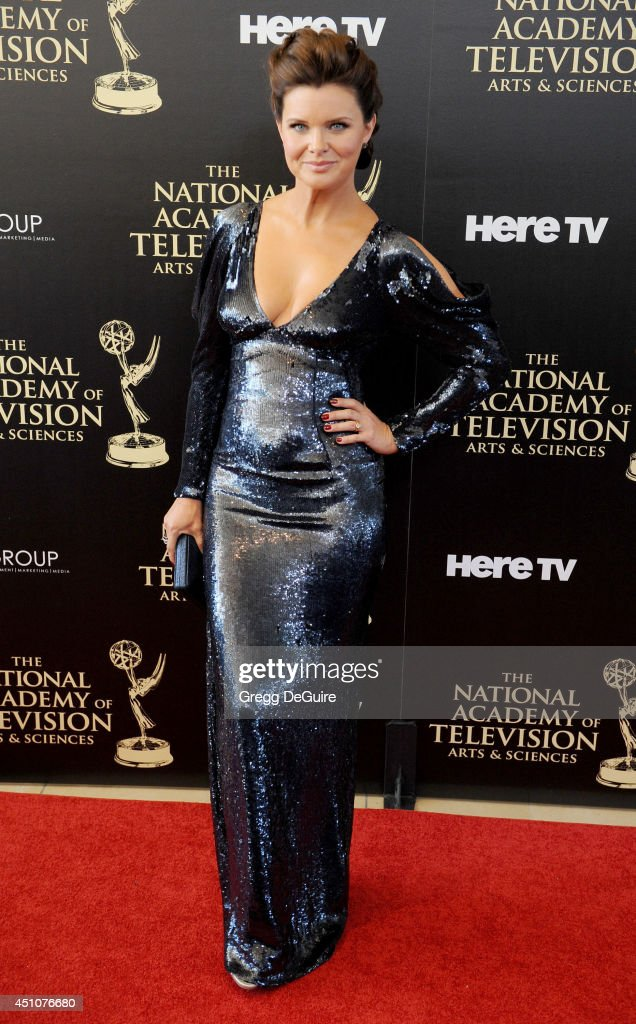 Actress <a gi-track='captionPersonalityLinkClicked' href=/galleries/search?phrase=Heather+Tom&family=editorial&specificpeople=208780 ng-click='$event.stopPropagation()'>Heather Tom</a> arrives at the 41st Annual Daytime Emmy Awards at The Beverly Hilton Hotel on June 22, 2014 in Beverly Hills, California.