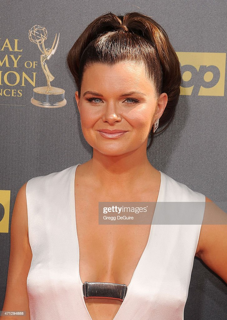 Actress <a gi-track='captionPersonalityLinkClicked' href=/galleries/search?phrase=Heather+Tom&family=editorial&specificpeople=208780 ng-click='$event.stopPropagation()'>Heather Tom</a> arrives at the 42nd Annual Daytime Emmy Awards at Warner Bros. Studios on April 26, 2015 in Burbank, California.
