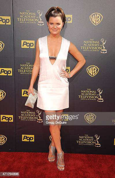 Actress Heather Tom arrives at the 42nd Annual Daytime Emmy Awards at Warner Bros Studios on April 26 2015 in Burbank California
