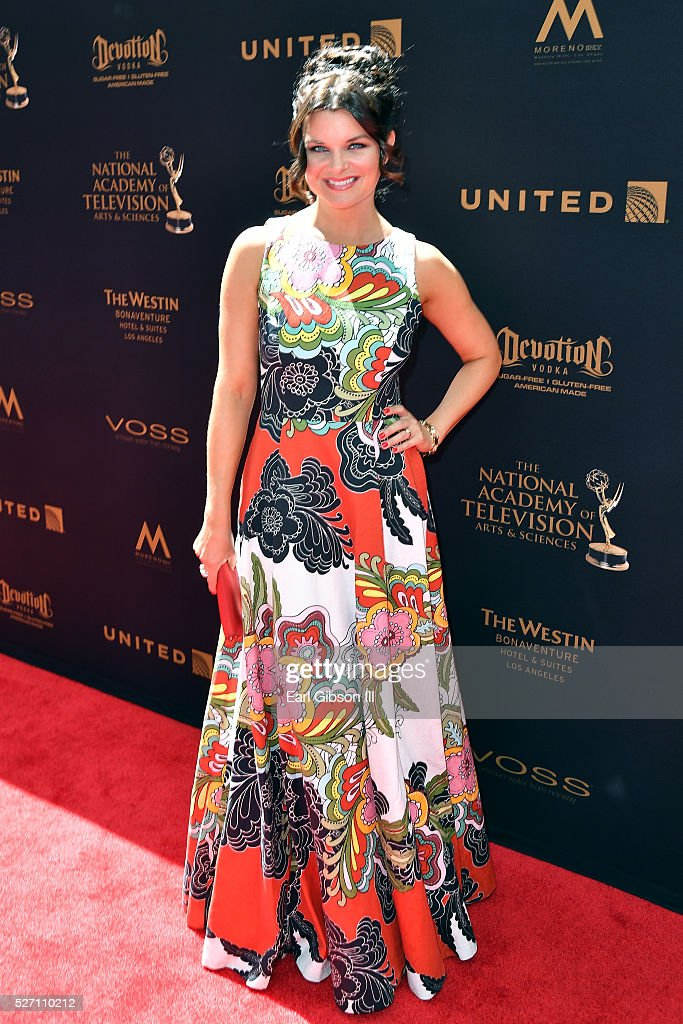 Actress <a gi-track='captionPersonalityLinkClicked' href=/galleries/search?phrase=Heather+Tom&family=editorial&specificpeople=208780 ng-click='$event.stopPropagation()'>Heather Tom</a> arrives at the 43rd Annual Daytime Emmy Awards at the Westin Bonaventure Hotel on May 1, 2016 in Los Angeles, California.