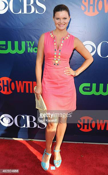 Actress Heather Tom arrives at the CBS The CW Showtime CBS Television Distribution 2014 Television Critics Association Summer Press Tour at Pacific...