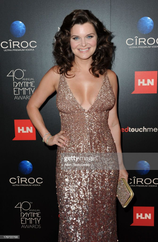 Actress <a gi-track='captionPersonalityLinkClicked' href=/galleries/search?phrase=Heather+Tom&family=editorial&specificpeople=208780 ng-click='$event.stopPropagation()'>Heather Tom</a> attends 40th Annual Daytime Entertaimment Emmy Awards - Arrivals at The Beverly Hilton Hotel on June 16, 2013 in Beverly Hills, California.