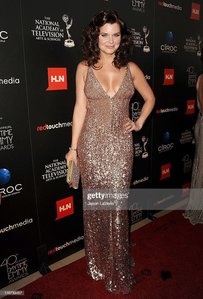 Actress <a gi-track='captionPersonalityLinkClicked' href=/galleries/search?phrase=Heather+Tom&family=editorial&specificpeople=208780 ng-click='$event.stopPropagation()'>Heather Tom</a> attends the 40th annual Daytime Emmy Awards at The Beverly Hilton Hotel on June 16, 2013 in Beverly Hills, California.