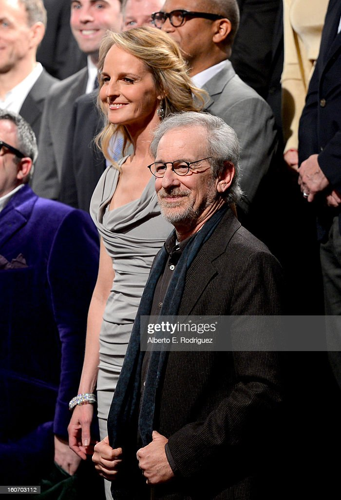 Actress Helen Hunt (L) and director Steven Spielberg attend the 85th Academy Awards Nominations Luncheon at The Beverly Hilton Hotel on February 4, 2013 in Beverly Hills, California.