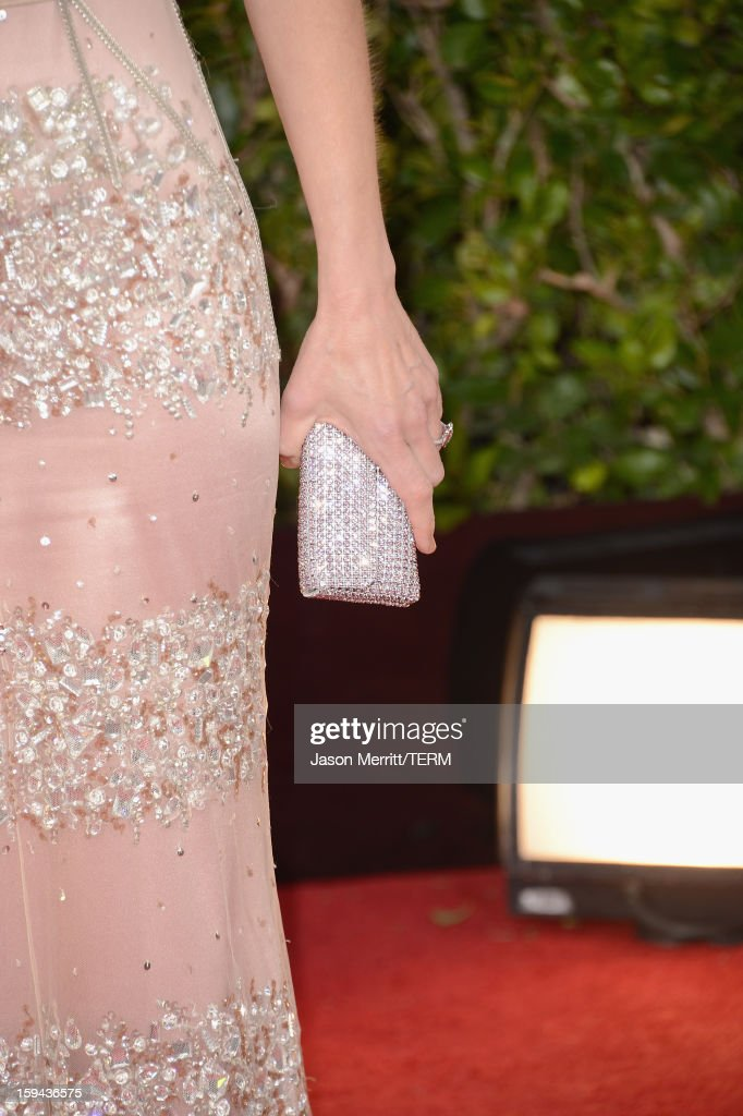 Actress Helen Hunt (handbag detail) arrives at the 70th Annual Golden Globe Awards held at The Beverly Hilton Hotel on January 13, 2013 in Beverly Hills, California.