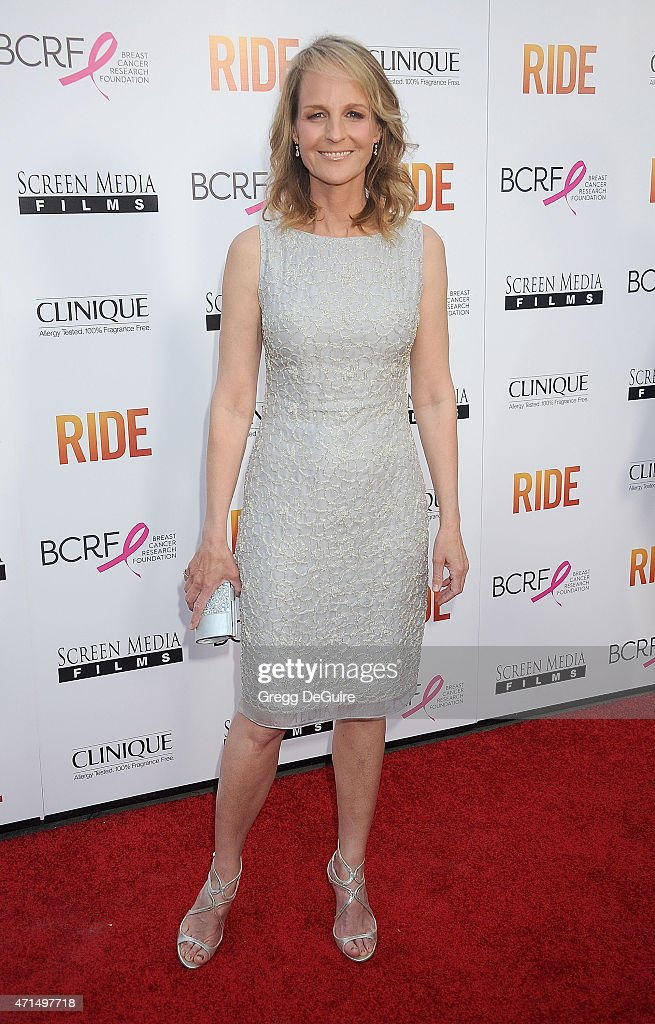 Actress Helen Hunt arrives at the Los Angeles premiere of 'Ride' at ArcLight Hollywood on April 28 2015 in Hollywood California