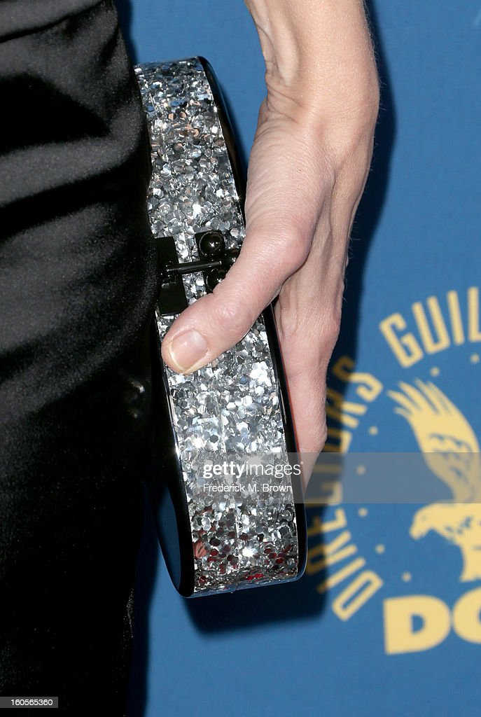 Actress Helen Hunt (fashion detail) attends the 65th Annual Directors Guild Of America Awards at Ray Dolby Ballroom at Hollywood & Highland on February 2, 2013 in Los Angeles, California.