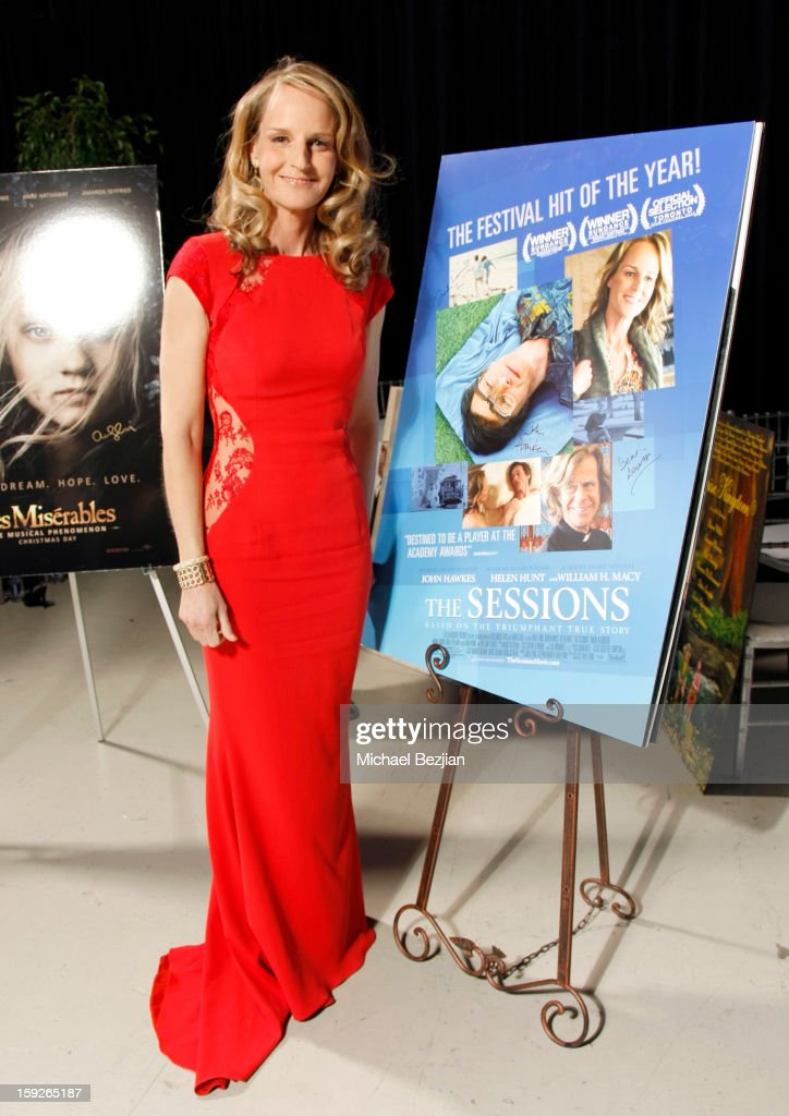 Actress Helen Hunt attends the poster signing event for charity during the Critics' Choice Movie Awards 2013 at Barkar Hangar on January 10, 2013 in Santa Monica, California.