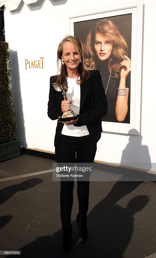 Actress Helen Hunt poses in the Piaget Lounge during The 2013 Film Independent Spirit Awards on February 23, 2013 in Santa Monica, California.