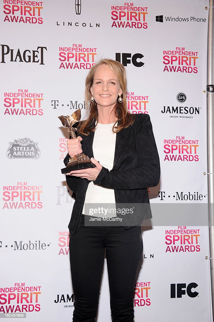 Actress Helen Hunt poses with award for The Sessions during the 2013 Film Independent Spirit Awards at Santa Monica Beach on February 23, 2013 in Santa Monica, California.