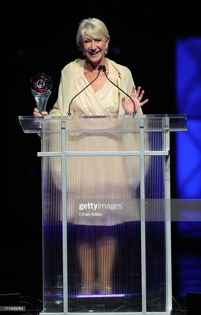 Actress Helen Mirren accepts the Career Achievement Award at the CinemaCon awards ceremony at The Colosseum at Caesars Palace during CinemaCon, the official convention of the National Association of Theatre Owners, March 31, 2011 in Las Vegas, Nevada.