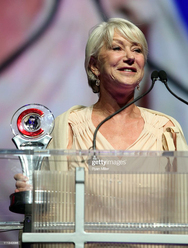 Actress Helen Mirren accepts the Career Achievement Award onstage during the CinemaCon awards ceremony at The Colosseum at Caesars Palace during CinemaCon, the official convention of the National Association of Theatre Owners, March 31, 2011 in Las Vegas, Nevada.