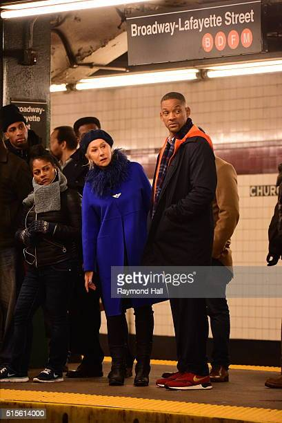 Actress Helen Mirren and actor Will Smith are seen on set of 'Collateral Beauty' in the subway in Brooklyn on March 14 2016 in New York City