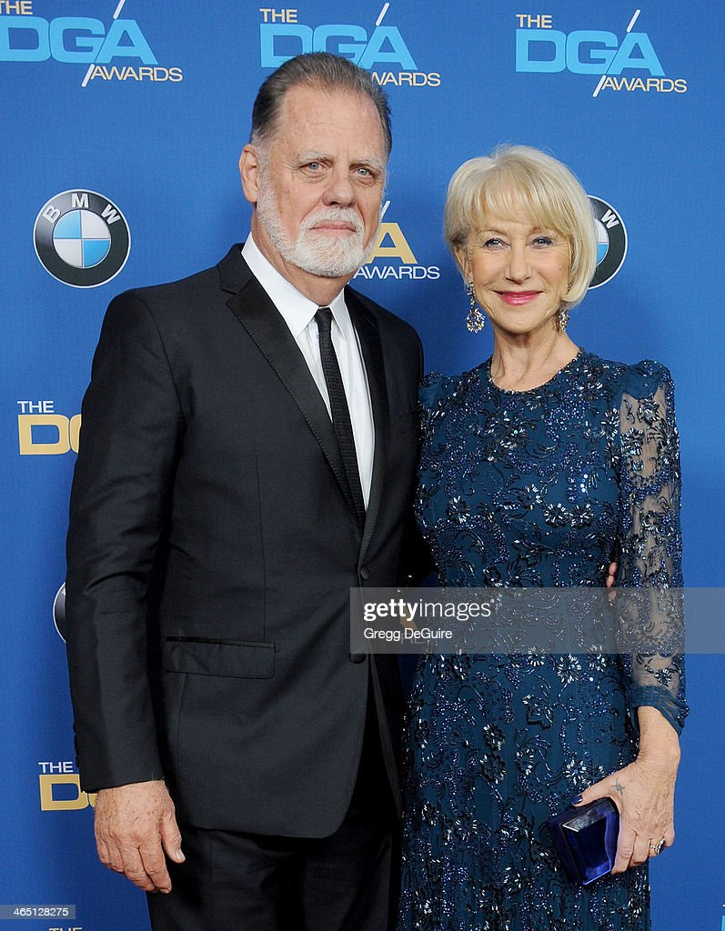 Actress Helen Mirren and director Taylor Hackford arrive at the 66th Annual Directors Guild Of America Awards at the Hyatt Regency Century Plaza on January 25, 2014 in Century City, California.