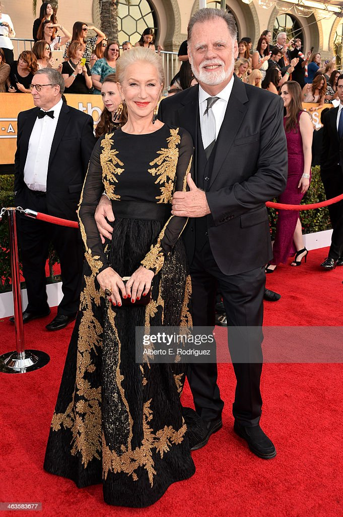 Actress Helen Mirren and husband Taylor Hackford attend the 20th Annual Screen Actors Guild Awards at The Shrine Auditorium on January 18 2014 in Los...