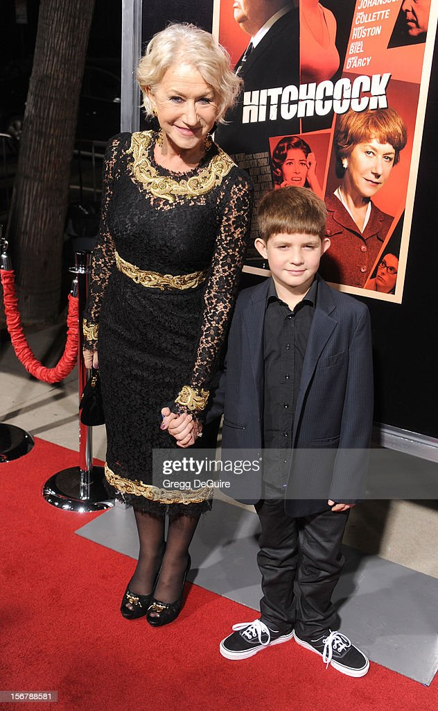 Actress Helen Mirren and nephew Felix Mirren arrive at the Los Angeles premiere of 'Hitchcock' at the Academy of Motion Picture Arts and Sciences on November 20, 2012 in Beverly Hills, California.