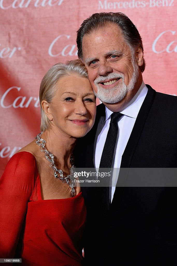 Actress Helen Mirren and Taylor Hackford arrives at The 24th Annual Palm Springs International Film Festival Awards Gala on January 5, 2013 in Palm Springs, California.