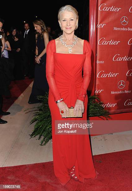 Actress Helen Mirren arrives at the 24th Annual Palm Springs International Film Festival Awards Gala at Palm Springs Convention Center on January 5...