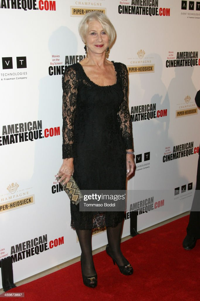 Actress <a gi-track='captionPersonalityLinkClicked' href=/galleries/search?phrase=Helen+Mirren&family=editorial&specificpeople=201576 ng-click='$event.stopPropagation()'>Helen Mirren</a> arrives at the 27th American Cinematheque Award honoring Jerry Bruckheimer at The Beverly Hilton Hotel on December 12, 2013 in Beverly Hills, California.