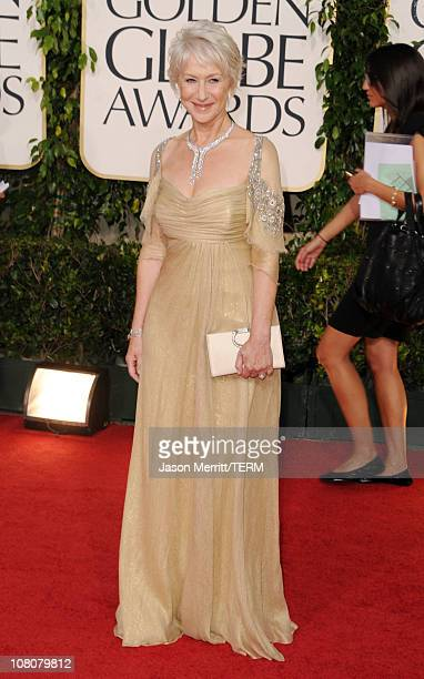 Actress Helen Mirren arrives at the 68th Annual Golden Globe Awards held at The Beverly Hilton hotel on January 16 2011 in Beverly Hills California