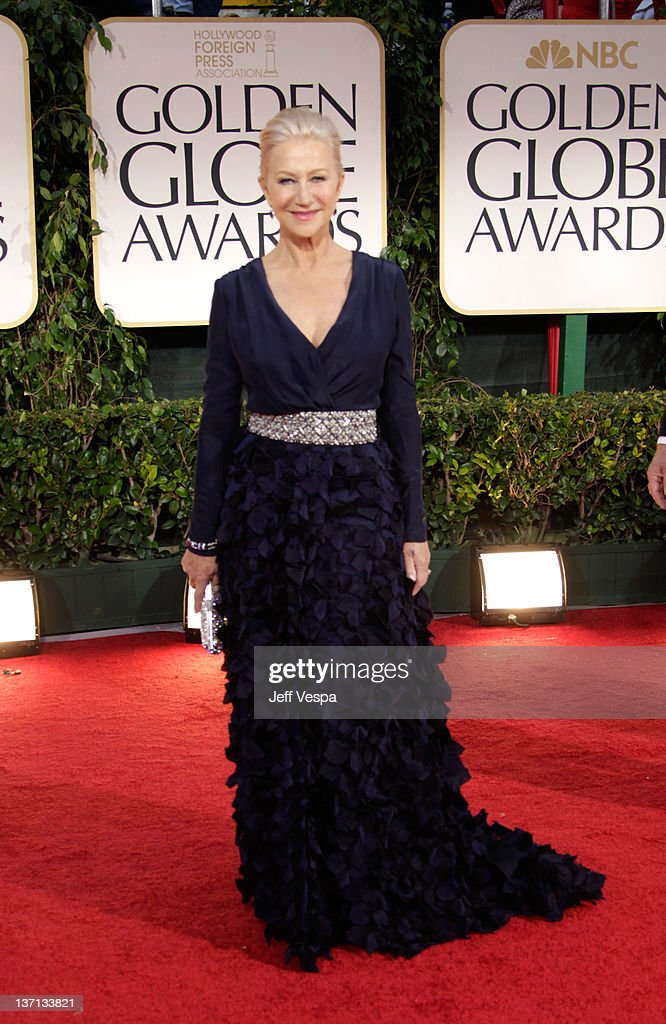 Actress Helen Mirren arrives at the 69th Annual Golden Globe Awards held at the Beverly Hilton Hotel on January 15 2012 in Beverly Hills California