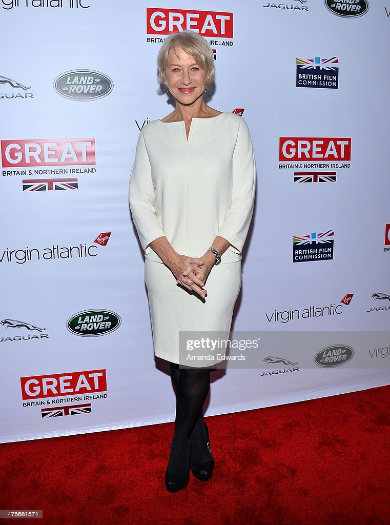 Actress <a gi-track='captionPersonalityLinkClicked' href=/galleries/search?phrase=Helen+Mirren&family=editorial&specificpeople=201576 ng-click='$event.stopPropagation()'>Helen Mirren</a> arrives at the GREAT British Film Reception honoring the British Nominees of The 86th Annual Academy Awards at British Consul General's Residence on February 28, 2014 in Los Angeles, California.