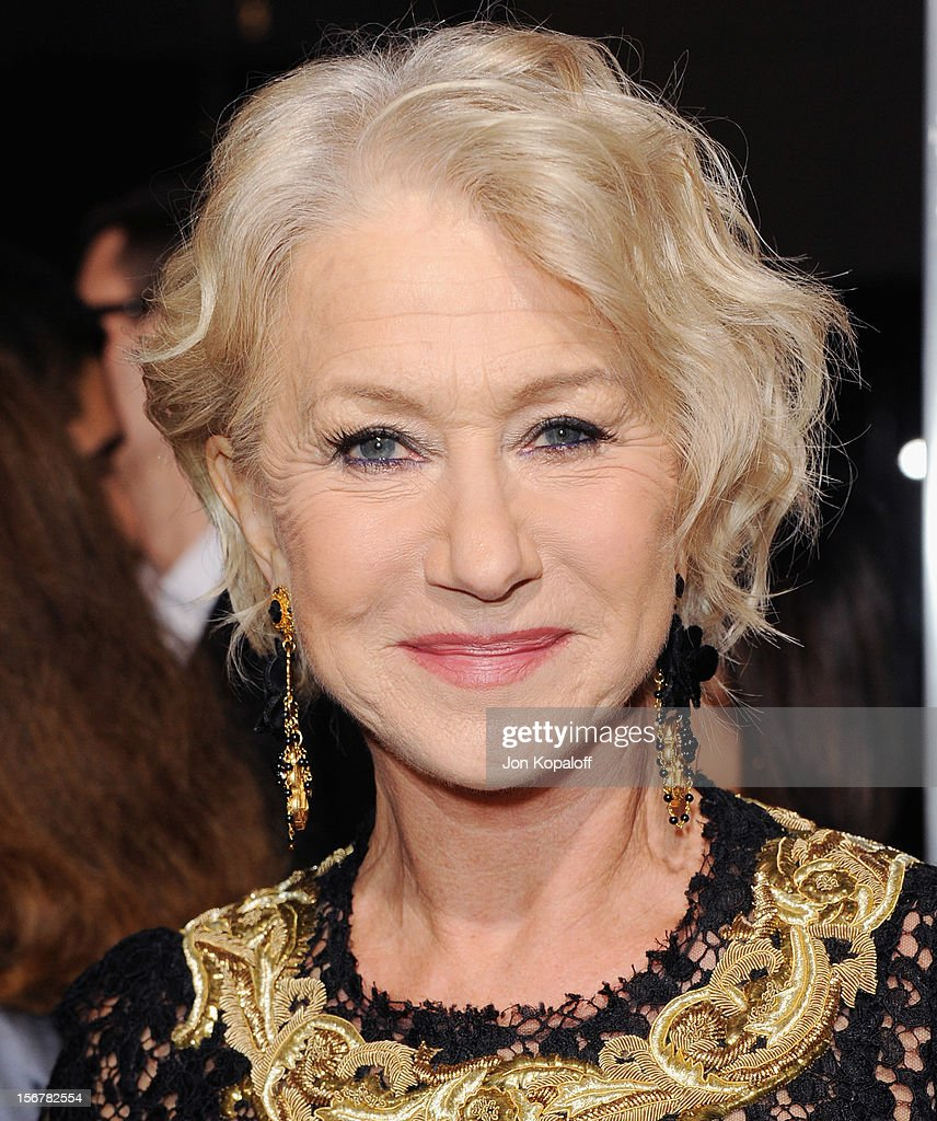 Actress <a gi-track='captionPersonalityLinkClicked' href=/galleries/search?phrase=Helen+Mirren&family=editorial&specificpeople=201576 ng-click='$event.stopPropagation()'>Helen Mirren</a> arrives at the Los Angeles Premiere 'Hitchcock' at AMPAS Samuel Goldwyn Theater on November 20, 2012 in Beverly Hills, California.