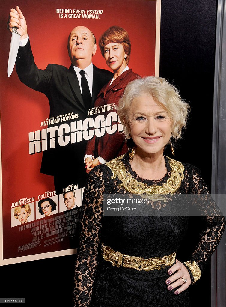 Actress <a gi-track='captionPersonalityLinkClicked' href=/galleries/search?phrase=Helen+Mirren&family=editorial&specificpeople=201576 ng-click='$event.stopPropagation()'>Helen Mirren</a> arrives at the Los Angeles premiere of 'Hitchcock' at the Academy of Motion Picture Arts and Sciences on November 20, 2012 in Beverly Hills, California.