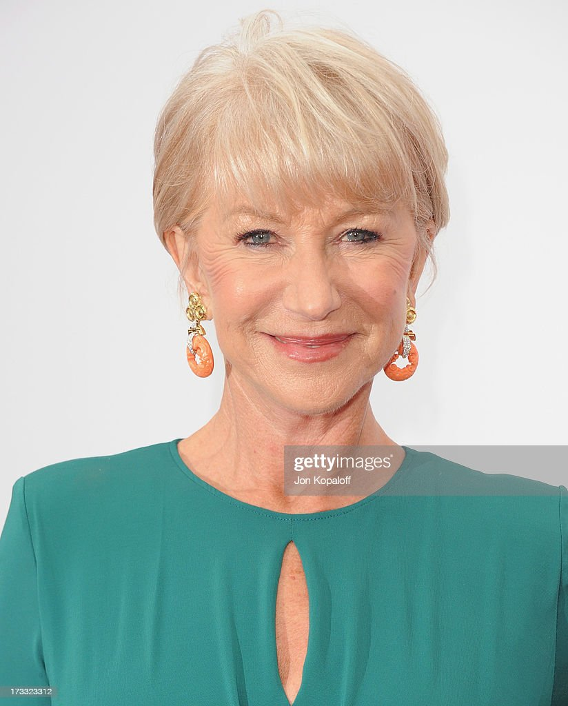 Actress <a gi-track='captionPersonalityLinkClicked' href=/galleries/search?phrase=Helen+Mirren&family=editorial&specificpeople=201576 ng-click='$event.stopPropagation()'>Helen Mirren</a> arrives at the Los Angeles Premiere 'Red 2' at Westwood Village on July 11, 2013 in Los Angeles, California.