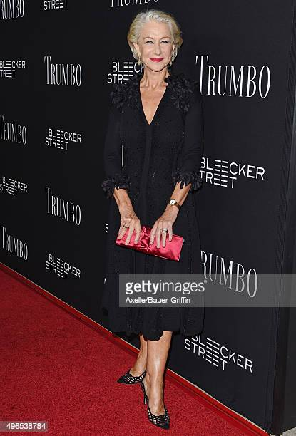 Actress Helen Mirren arrives at the premiere of Bleecker Street Media's 'Trumbo' at Samuel Goldwyn Theater on October 27 2015 in Beverly Hills...