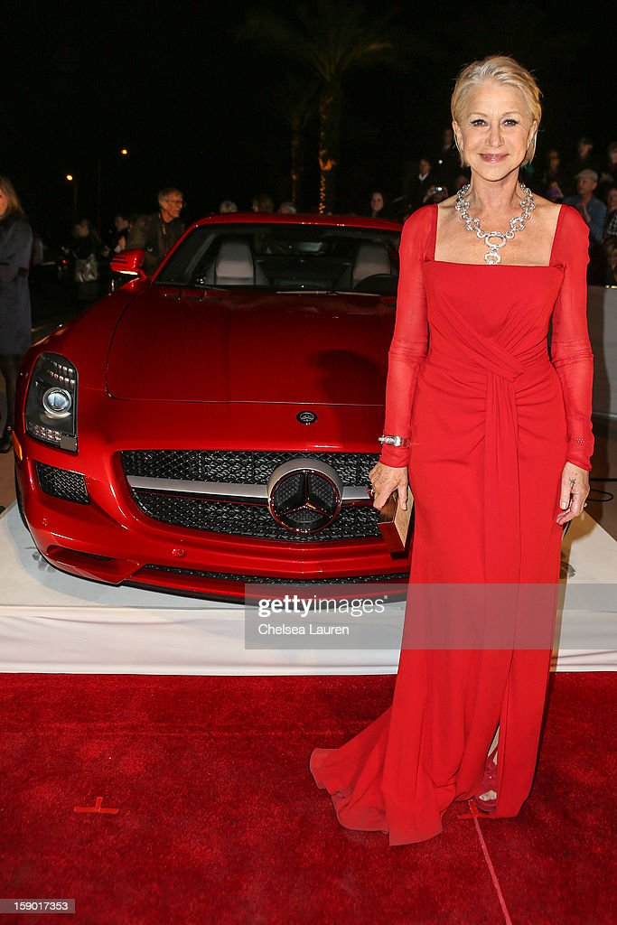 Actress <a gi-track='captionPersonalityLinkClicked' href=/galleries/search?phrase=Helen+Mirren&family=editorial&specificpeople=201576 ng-click='$event.stopPropagation()'>Helen Mirren</a> arrives in style with Mercedes-Benz at the Palm Springs International Film Festival at the Palm Springs Convention Center on January 5, 2013 in Palm Springs, California.