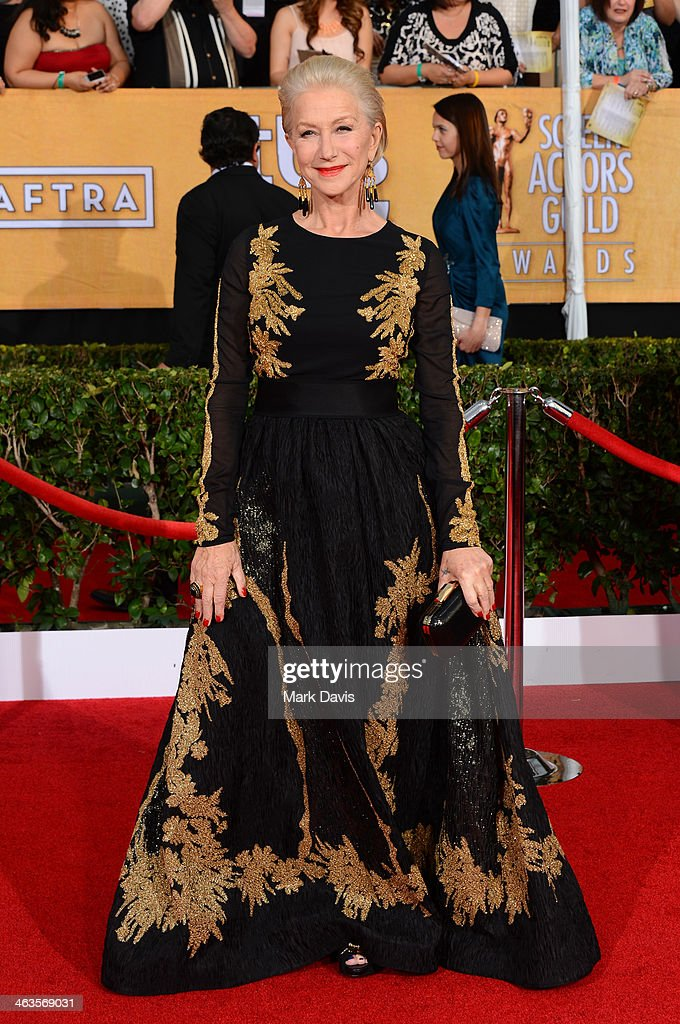 Actress <a gi-track='captionPersonalityLinkClicked' href=/galleries/search?phrase=Helen+Mirren&family=editorial&specificpeople=201576 ng-click='$event.stopPropagation()'>Helen Mirren</a> attends 20th Annual Screen Actors Guild Awards at The Shrine Auditorium on January 18, 2014 in Los Angeles, California.