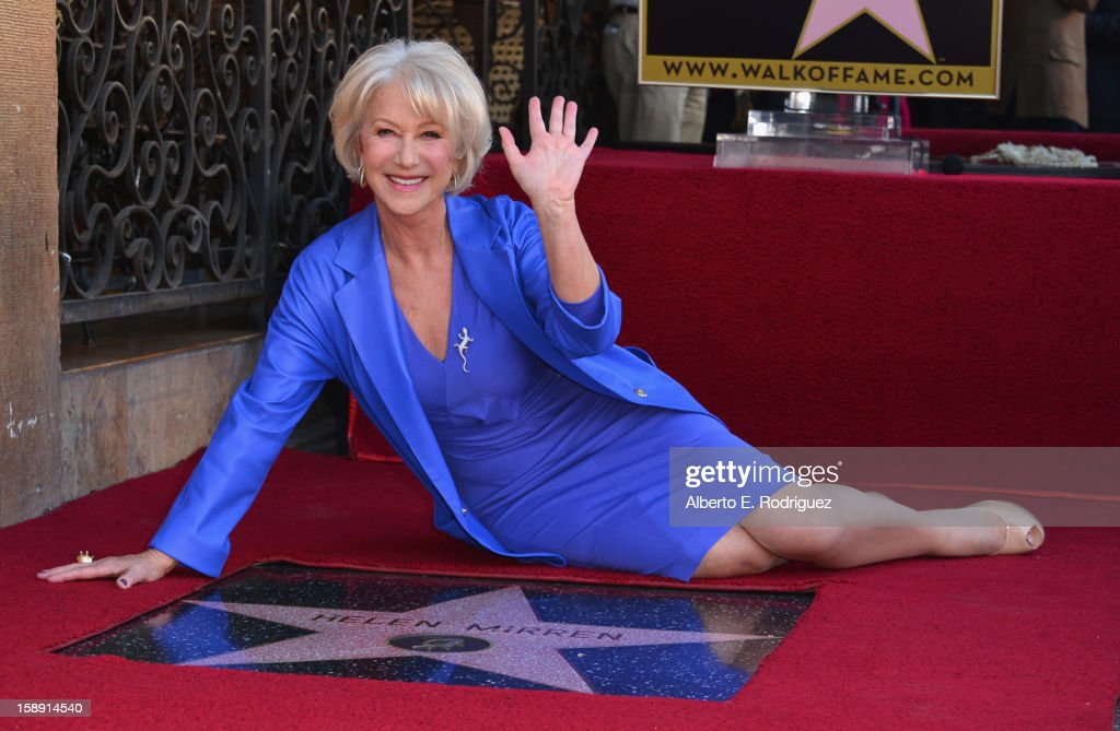 Actress <a gi-track='captionPersonalityLinkClicked' href=/galleries/search?phrase=Helen+Mirren&family=editorial&specificpeople=201576 ng-click='$event.stopPropagation()'>Helen Mirren</a> attends a ceremony honoring her with the 2,488th star on the Hollywood Walk of Fame on January 3, 2013 in Hollywood, California.