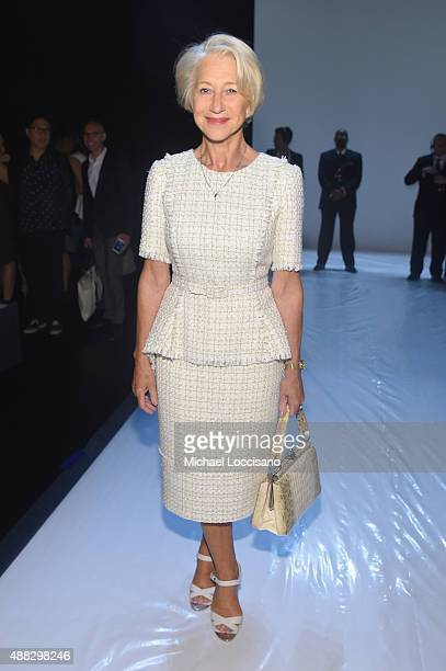 Actress Helen Mirren attends Badgley Mischka Spring 2016 during New York Fashion Week The Shows at The Arc Skylight at Moynihan Station on September...