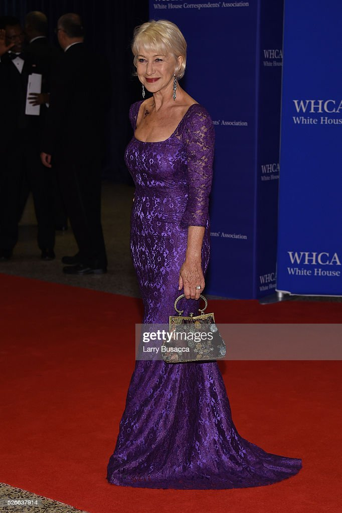 Actress <a gi-track='captionPersonalityLinkClicked' href=/galleries/search?phrase=Helen+Mirren&family=editorial&specificpeople=201576 ng-click='$event.stopPropagation()'>Helen Mirren</a> attends the 102nd White House Correspondents' Association Dinner on April 30, 2016 in Washington, DC.