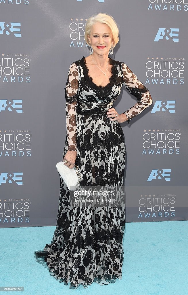 Actress <a gi-track='captionPersonalityLinkClicked' href=/galleries/search?phrase=Helen+Mirren&family=editorial&specificpeople=201576 ng-click='$event.stopPropagation()'>Helen Mirren</a> attends the 21st Annual Critics' Choice Awards at Barker Hangar on January 17, 2016 in Santa Monica, California.