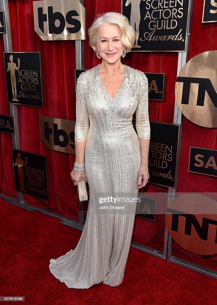 Actress <a gi-track='captionPersonalityLinkClicked' href=/galleries/search?phrase=Helen+Mirren&family=editorial&specificpeople=201576 ng-click='$event.stopPropagation()'>Helen Mirren</a> attends the 22nd Annual Screen Actors Guild Awards at The Shrine Auditorium on January 30, 2016 in Los Angeles, California.
