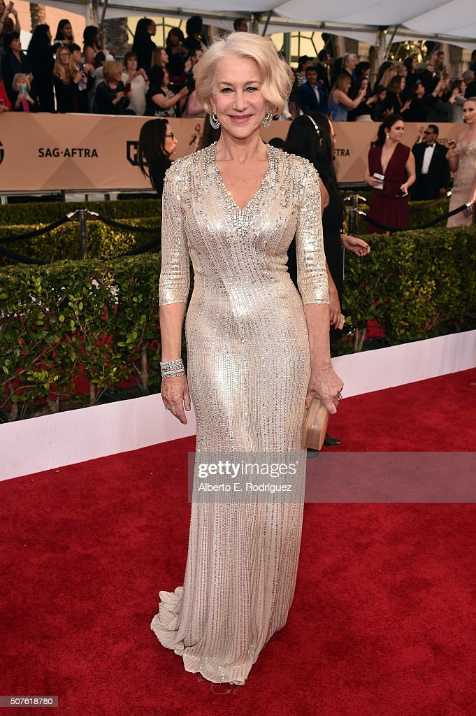 Actress Helen Mirren attends the 22nd Annual Screen Actors Guild Awards at The Shrine Auditorium on January 30, 2016 in Los Angeles, California.
