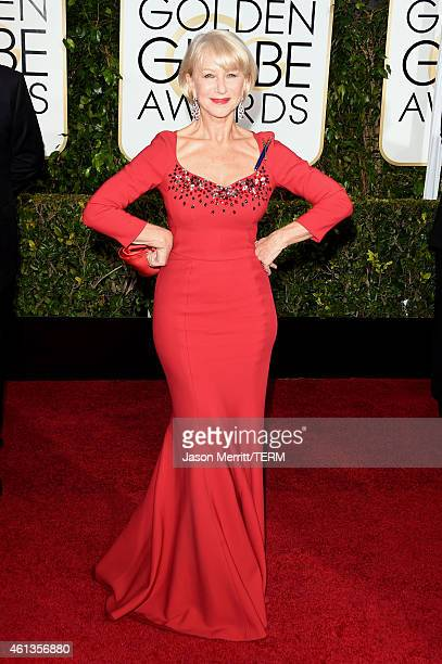 Actress Helen Mirren attends the 72nd Annual Golden Globe Awards at The Beverly Hilton Hotel on January 11 2015 in Beverly Hills California