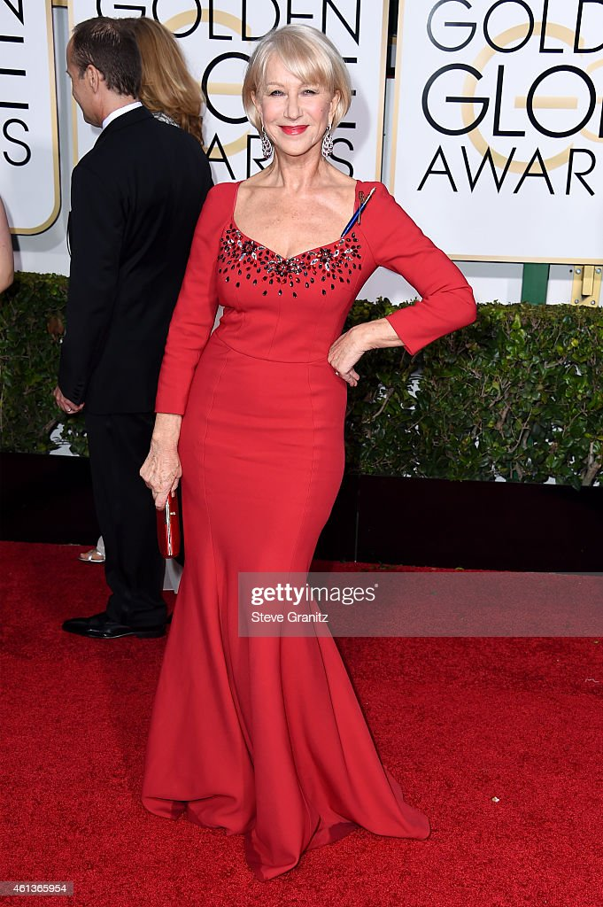 Actress <a gi-track='captionPersonalityLinkClicked' href=/galleries/search?phrase=Helen+Mirren&family=editorial&specificpeople=201576 ng-click='$event.stopPropagation()'>Helen Mirren</a> attends the 72nd Annual Golden Globe Awards at The Beverly Hilton Hotel on January 11, 2015 in Beverly Hills, California.